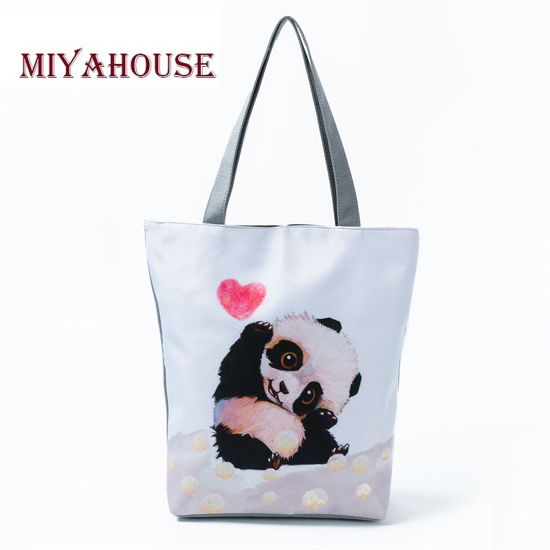 Cute Cartoon Animal Printed Canvas Tote For Women Summer Beach Bags High Capacity Panda Design Shoulder Shopping Bag