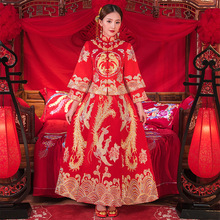 New China traditional Show dress evening clothes bridal vintage chinese style cheongsam long-sleeve dragon gown robe de mariee
