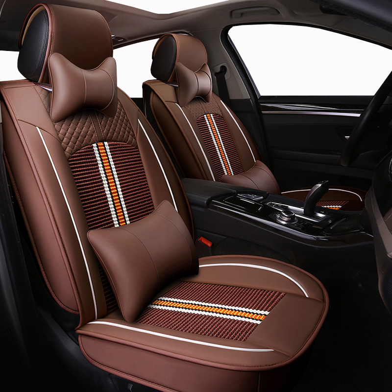 Front Rear Universal leather ice silk auto car seat cover for Subaru forester Legacy Outback