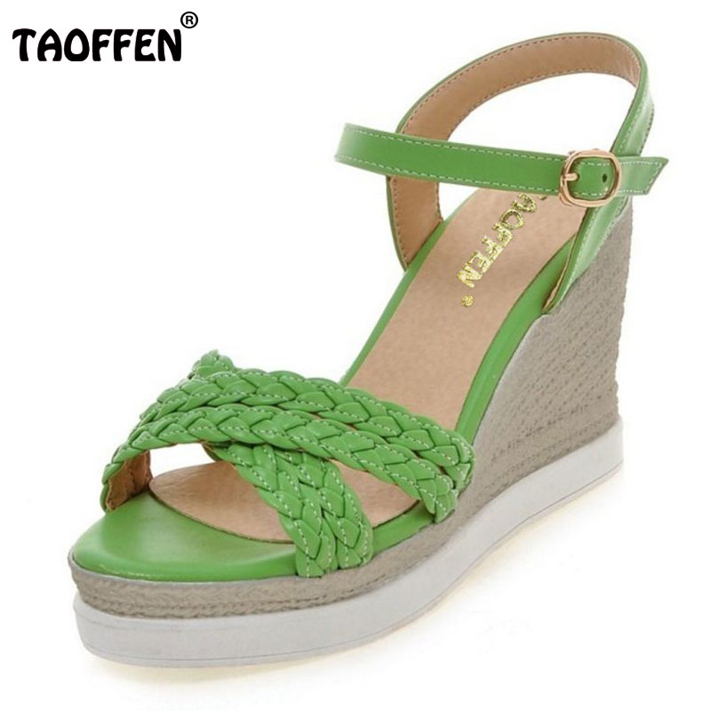 TAOFFEN Ladies Wedges Sandals Women Ankle Strap Platform Shoes Fashion Felamle Shoes Casual Women'S Footwear Size 34-43 phyanic 2017 gladiator sandals gold silver shoes woman summer platform wedges glitters creepers casual women shoes phy3323