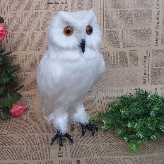 Vivid Snowy Owl Figurine Artificial Pe Bubo Scandiaca Wild