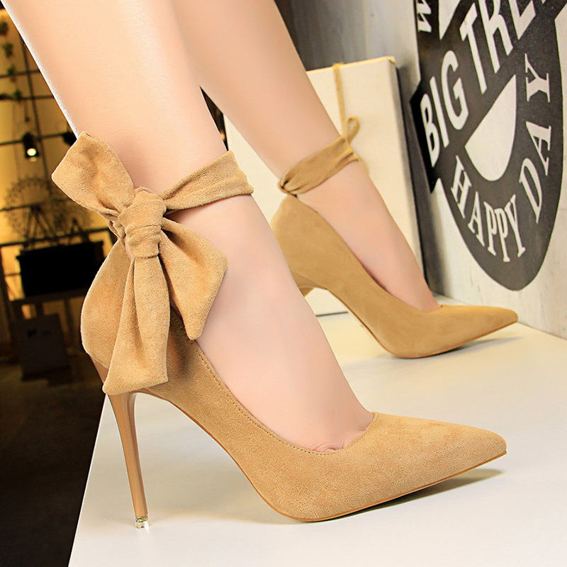 Red Bottom High Heels Women Pumps Block Women Shoes Back Bow Elegant Shoes Shallow Stripper Shoes Plus Size Sapato Feminino