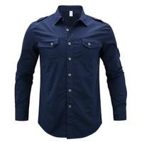 Spring 2017 Men's Long Sleeve Denim Cargo Shirts Plus Asian size M 5XL Shirt Men Cotton