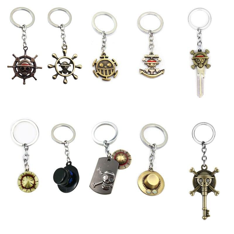 Anime ONE PIECE Keychain Key Chain Luffy Zoro Sanji Nami Hat Key Ring Car Charm Holder Chaveiro Pendant Keyring Fashion Jewelry
