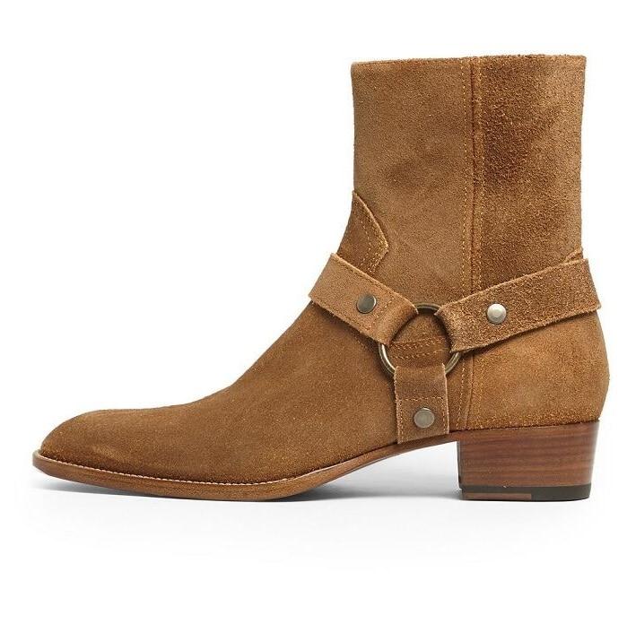 Haute qualité en cuir véritable Cowboy femmes bottes boucle sangle chaîne moto bottes Cool côté Zipper dames chaussures grand 37-46