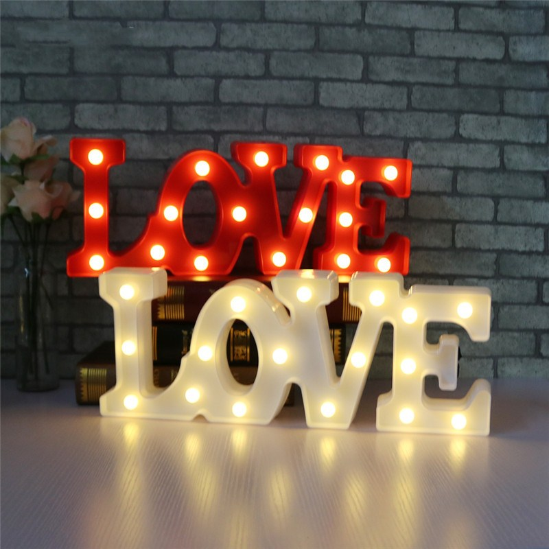 3D Love Letter LED USB And Battery Operated Night Light Table Lamp for Bedroom/Bedside Decorations Wedding Party Valentines Day ...