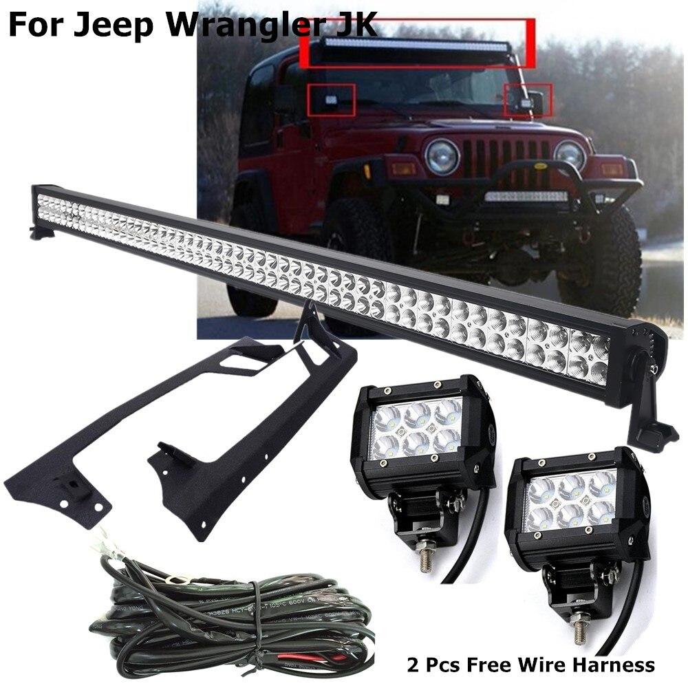 Jk Lights Set 52 300w Led Light Bar 18w Led Work Light Roof Mounting Bracket 2pcs Free Wire Harness For Jeep Wrangler Jk Light Bar Work Light Aliexpress