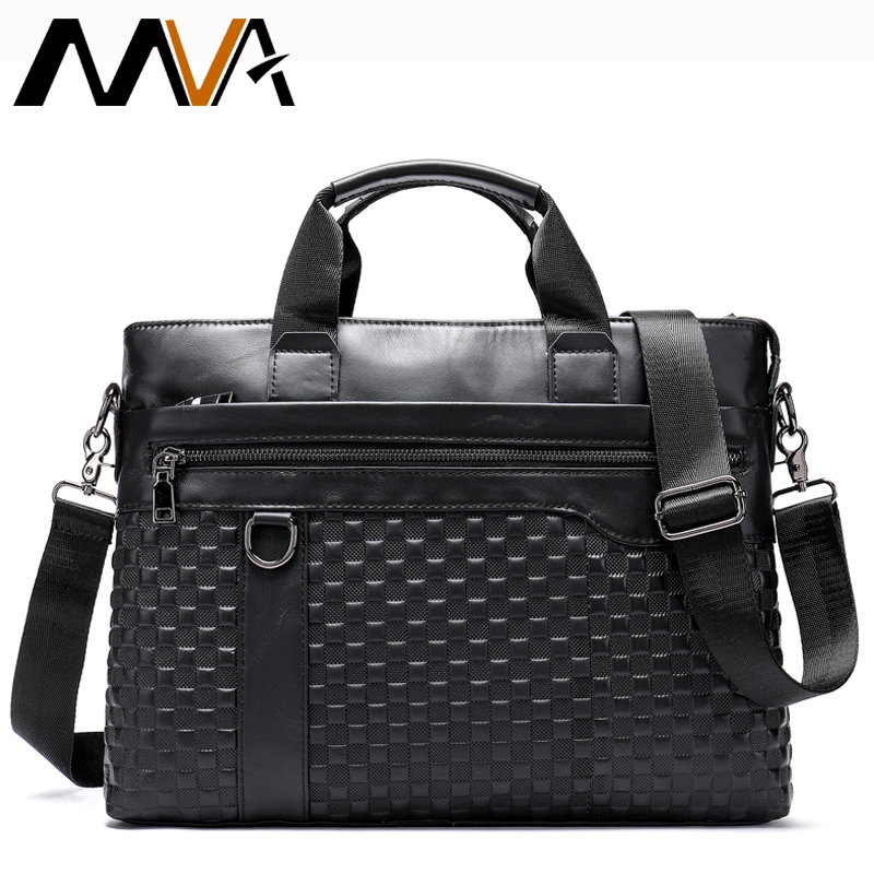 MVA Genuine Leather Briefcase Men Bag Business Bag For Computer/ Document Portfolio Laptop Briefcase 14 Inch Office Bag For Men