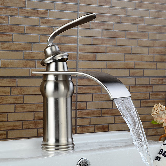 Basin Faucet Solid Brass Oil Rubbed Bronze Waterfall Bathroom Sink Faucet Big Square Spout Mixer Tap Torneira Banheiro WF-9273