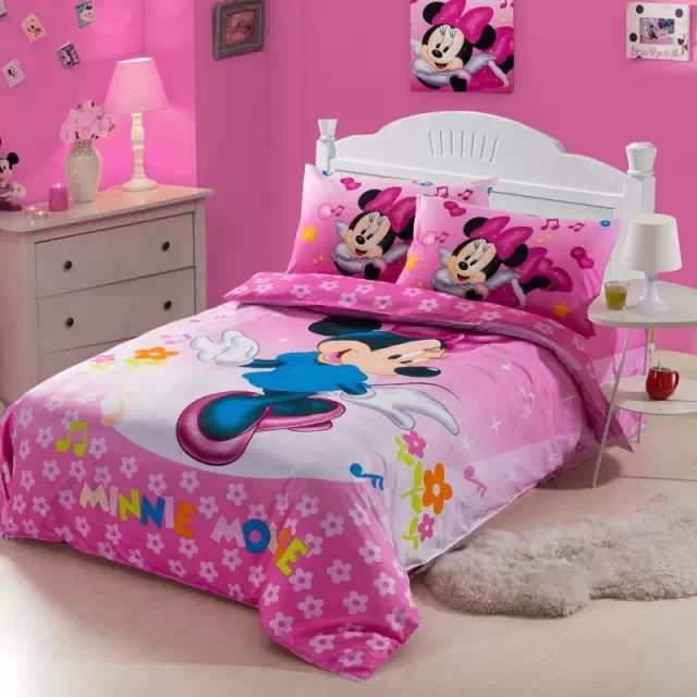 US $56.69 19% OFF|pink minnie mickey mouse bedding sets single twin size  comforter duvet cover bedspread cotton Girl\'s bedroom decoration 3 5pcs-in  ...