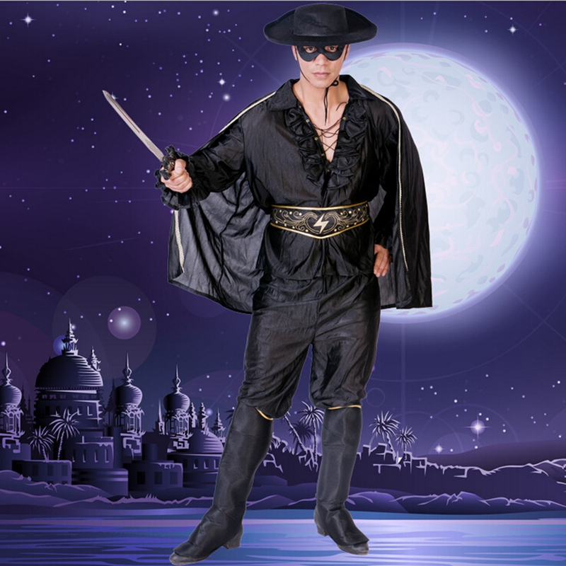 Offre spéciale Halloween Costumes adulte chevaleresque braqueurs épéiste Zorro chevaleresque braqueurs vêtements