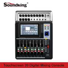 Soundking Mixing Console Pro Audio D-Touch 20 Digital Mixing Console Touchscreen WiFi 20-Inputs/16-Bus/8-Outs on sale A20 soundking soundking ca209 5p