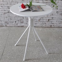 Modern Round Coffee Tea Side End Lamp Sofa Table Set With Splayed Leg Base White
