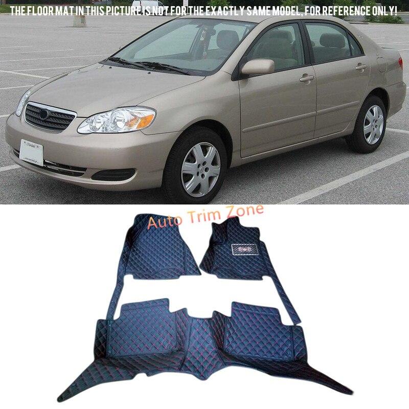 Черные внутренние кожаные коврики и ковры для Toyota Corolla 2004 2007