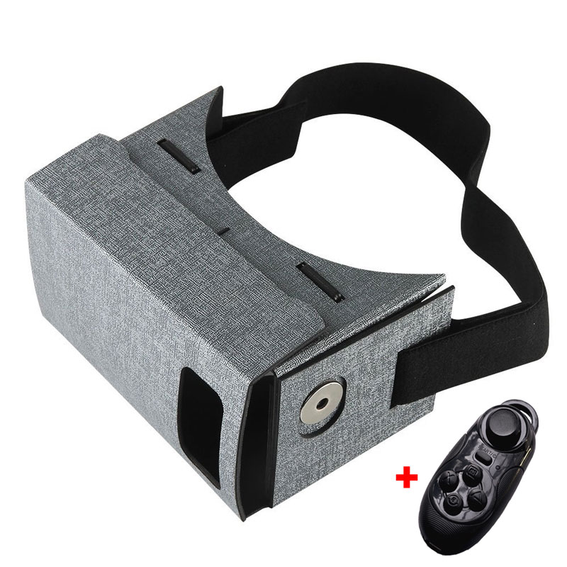 2016 new PU leather virtual reality 3D glasses for 3.5-5.5inch screen smart mobile phone with bluetooth gamepad   remote control