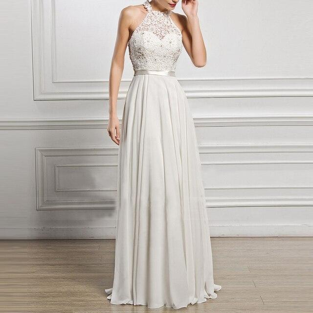 Новые Вечерние белый Кружево платье дамы халат белый Кружево шифоновое платье макси Длинные Элегантные спинки полые платья без рукавов