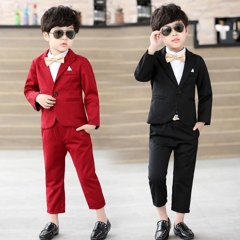 Baby Boys Suit Jackets 2018 Spring Cotton Coat Pants Tie 3 Piece Kids Suits