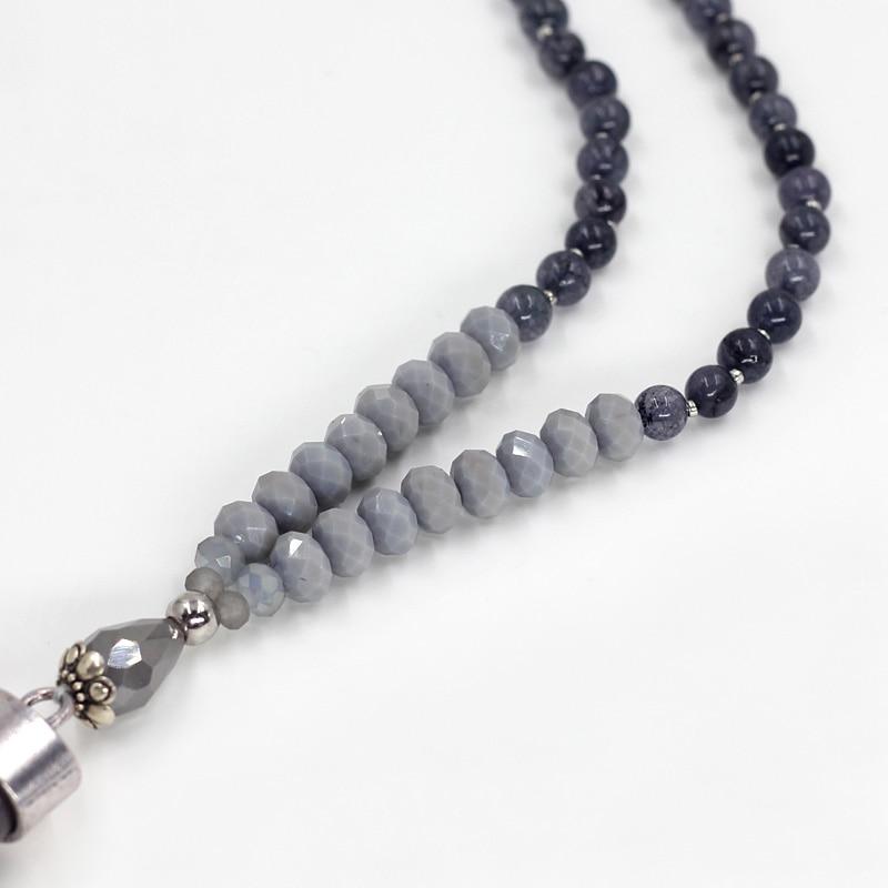 VONNOR Perhiasan Wanita Pernyataan Kalung Batu Alam Kristal Manik - Perhiasan fesyen - Foto 3