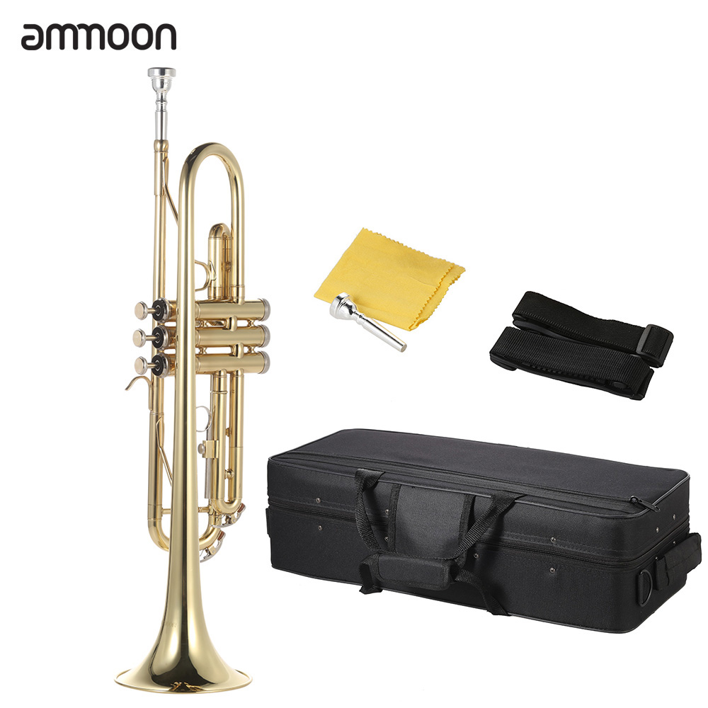 Ammoon Exquisite Bb B Flat Trumpet Brass Gold-painted Durable Musical Instrument With Mouthpiece Gloves Strap Case