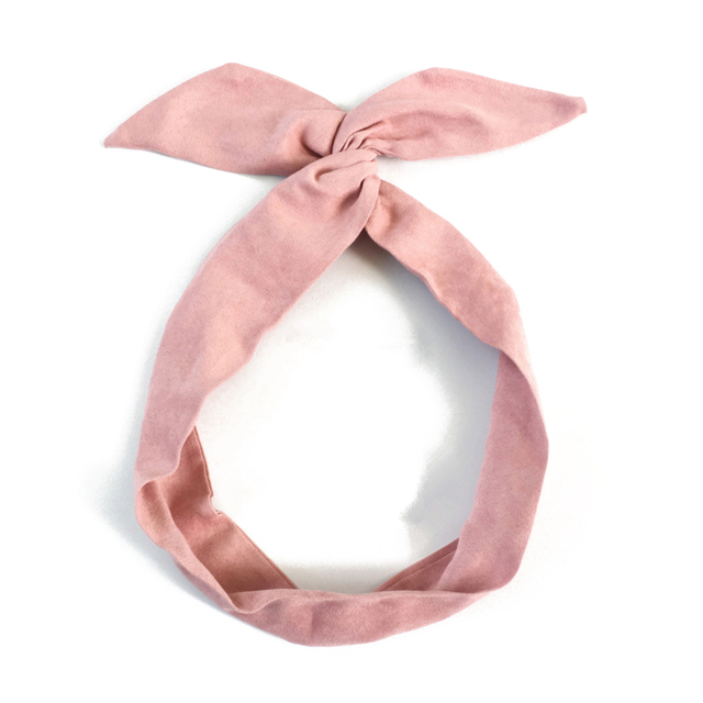 Details about  /Women Hairband Retro Solid Color Rabbit Ears Metal Wire Scarf Cross Bow Headband