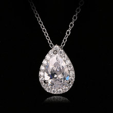Emmaya New Hot sale Fashion Zircon Necklaces & Dazzling White Gold Color Drop Shaped Pendant Necklace For Women(China)