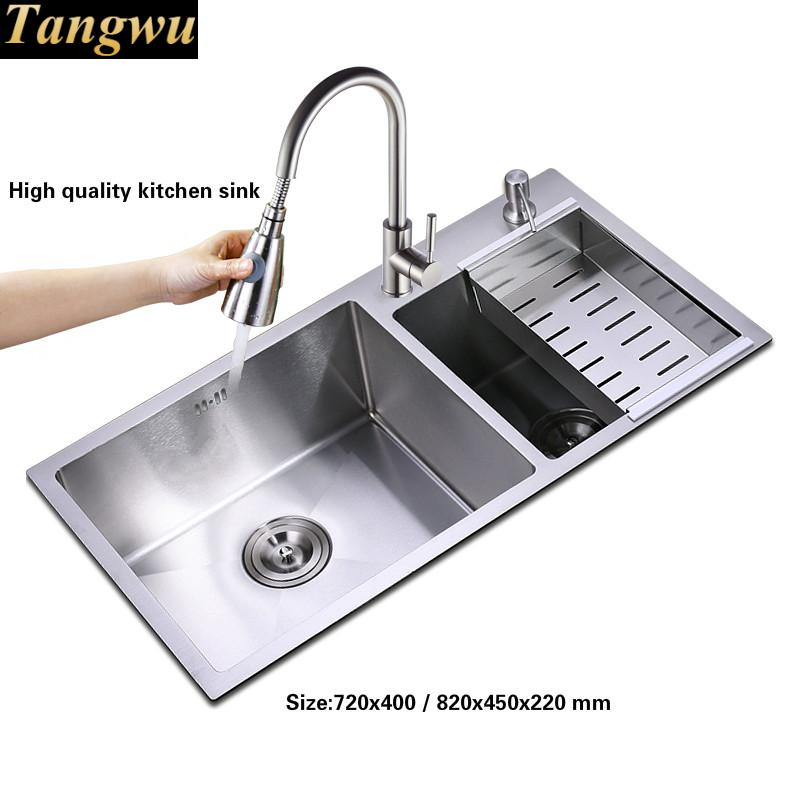 Tangwu Hand Made Of 304 Stainless Steel Kitchen Sink Thickening Double Groove 72x40 75x41