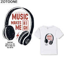 ZOTOONE Cartoon headphone T-shirt pattern heat transfer offset patch iron decorative patch on DIY clothing transfer pape D stripe pattern patch t shirt