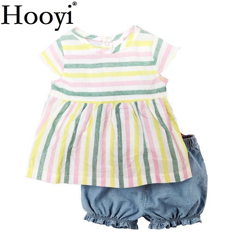 Hooyi Baby Girls Dress Clothes Suit Stripe Newborn Jumpsuits Girls Blouse Pants Children T-Shirt Panties Toddler Outfit 0-2Year