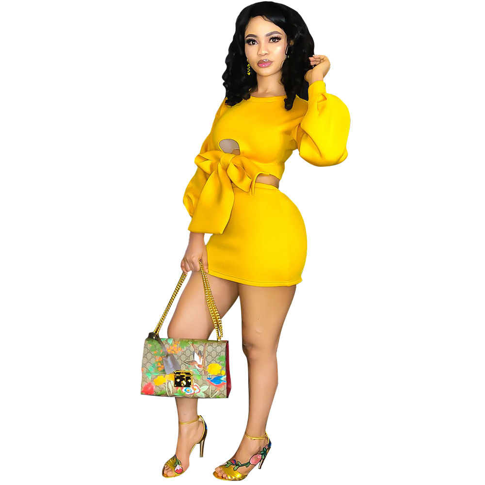 Casual Solid Yellow Women Set Sexy Lace Up Bandage Hollow Out O Neck Long Sleeve Set Women Pullover Crop Top With Mini Skirt
