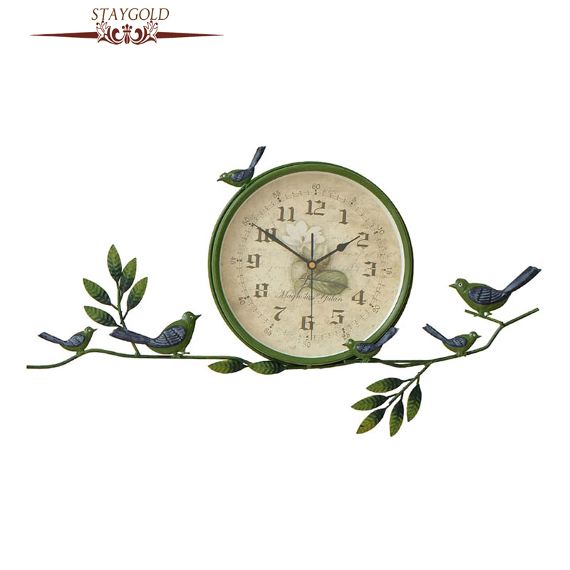 STAYGOLD Zakka Bird Branches 3d Wall Clock Home Decoration Accessories Enfeites Para Casa Vintage Retro ClocksSTAYGOLD Zakka Bird Branches 3d Wall Clock Home Decoration Accessories Enfeites Para Casa Vintage Retro Clocks