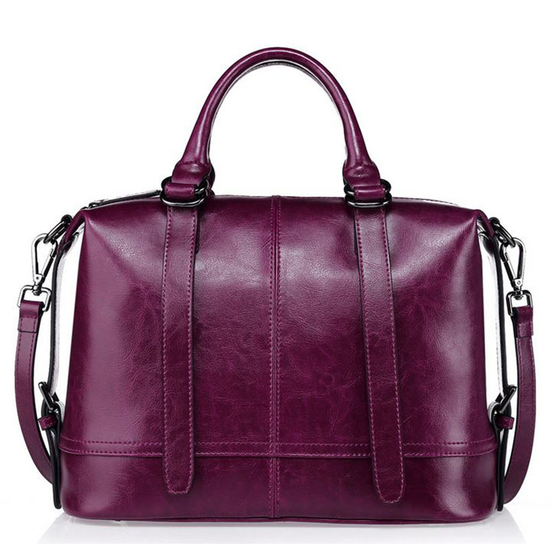 2018 Top Genuine Leather Handbag Women Messenger Bags Soft Cowhide Lady Tote Fashion Designer Purple one Shoulder Crossbody Bag genuine leather fashion women handbags bucket tote crossbody bags embossing flowers cowhide lady messenger shoulder bags