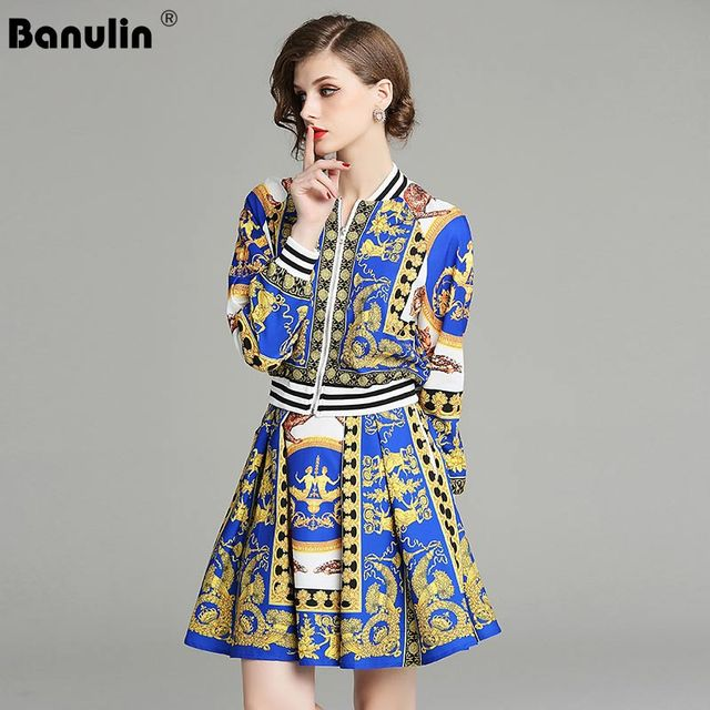 c65d12045636c US $37.82 30% OFF|Banulin 2018 New Designer Fashion Runway Suit Sets  Women's Long Sleeve Zip Jacket Vintage Print Pleated Mini Skirt 2 Pieces  Sets-in ...