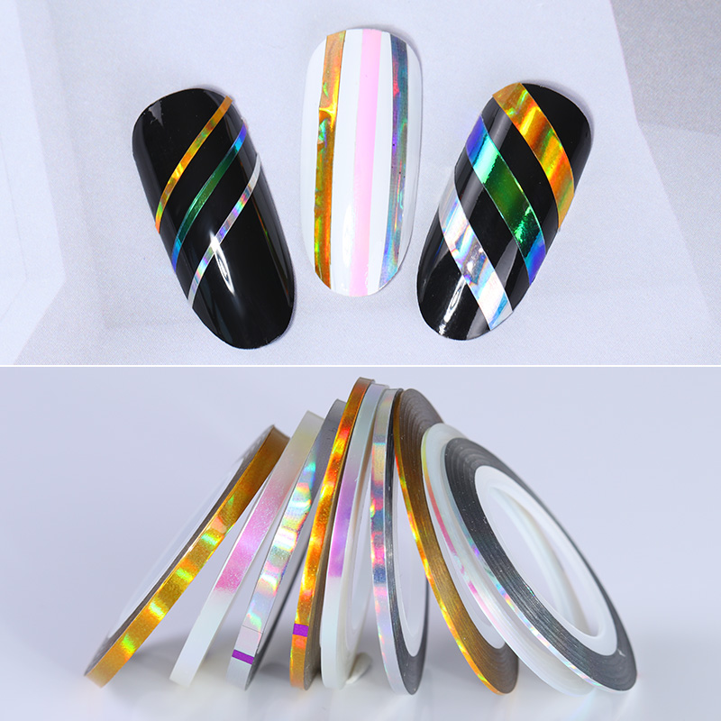 9 Rolls Holographic Nail Striping Tapes Laser Adhesive Line Decal DIY Styling Tools Manicure Nail Art Decoration 14 rolls glitter scrub nail art striping tape line sticker tips diy mixed colors self adhesive decal tools manicure 1mm 2mm 3mm