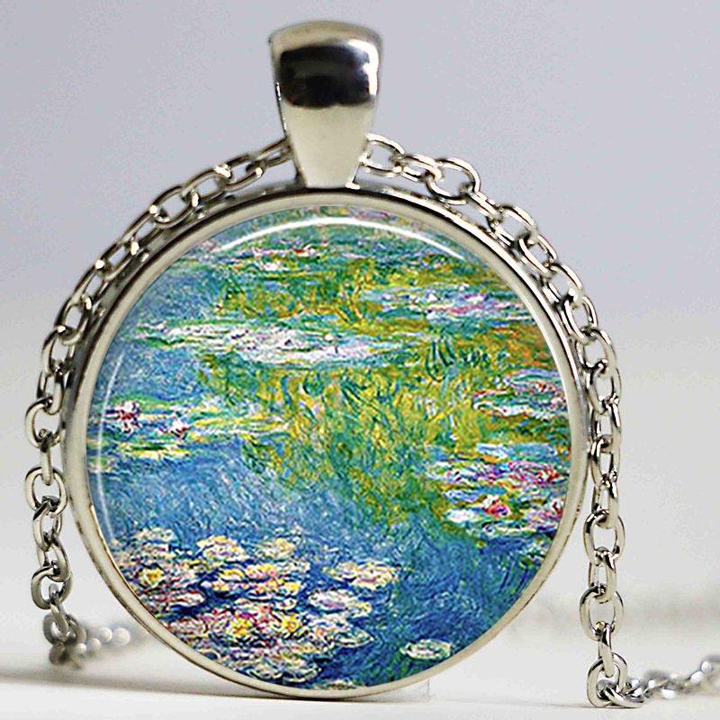 lirio de agua de monet estanque arte colgante gran pintura monet cabujn de cristal collar joyera