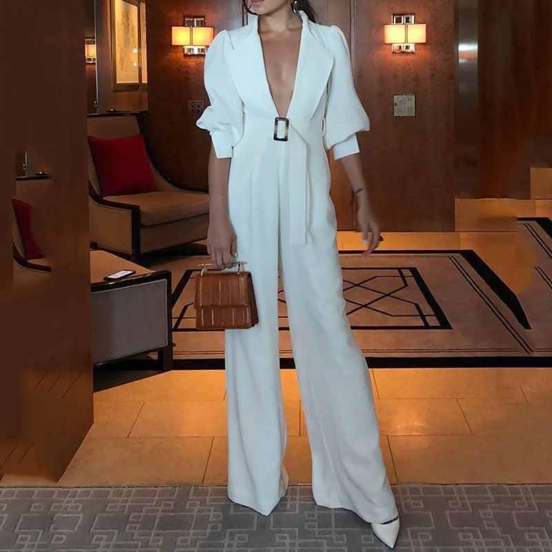 OL blanco largo piernas anchas mono mujeres Sexy Deep V cuello Vintage señoras overoles de manga larga de encaje hasta mono de cintura alta Mujer