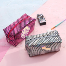 Mermaid Laser Cosmetic Bags Shell Holographic Women Men Travel Wash Storage Bags