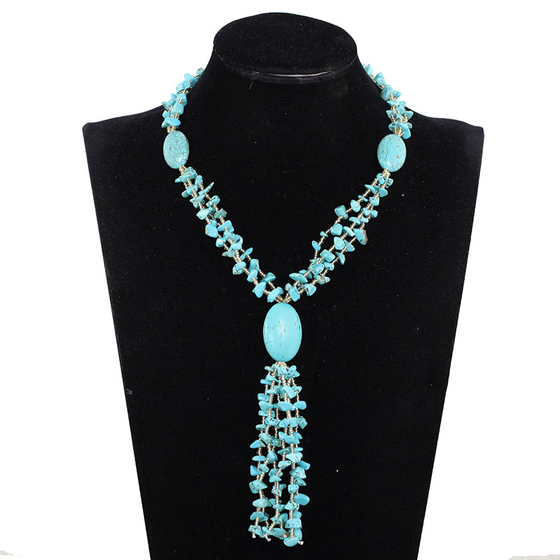 Nouveau collier de fête en pierre naturelle pendentif perles bleues bijoux fantaisie pour femmes livraison gratuite TN079