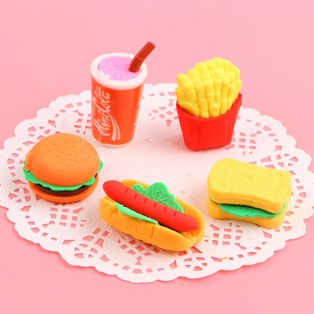 5Pcs/Lot Cola Hamburg Hotdog Chips Food Eraser Rubber Stationery Sandwich Shaped Creative Cute School Supplies For Kids E2012