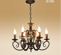 European Fashion Vintage Chandelier Ceiling Lamp 6 Candle Lights Lighting Iron Black White Lampshade Fixtures E14