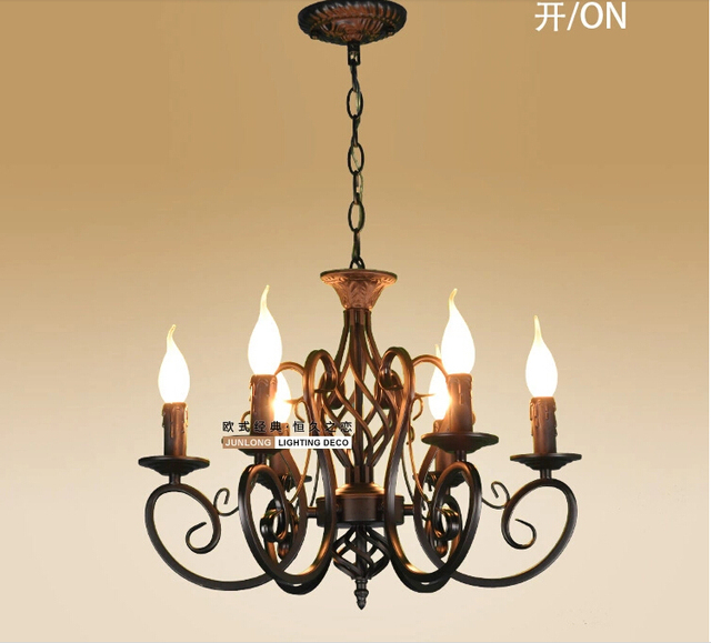 European Fashion Vintage Chandelier Ceiling Lamp 6 Candle Lights Lighting Iron Black White Lampshade Fixtures