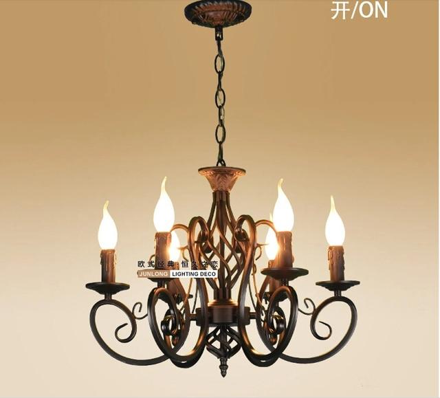 european fashion vintage kronleuchter deckenleuchte 6 kerzen beleuchtung eisen schwarzwei lampenschirm leuchten e14 kronleuchter - Kronleuchter Deckenleuchte