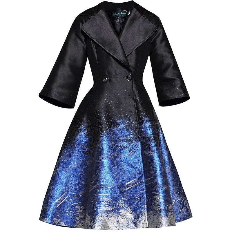 Boutonnage Femmes Soie Manches Nouveau De coat Lumineux 2019 vent Coupe 3 Double Printemps Outwear Luxe Imprimé Bleu Trench À Mince 4 qwf1tFTt
