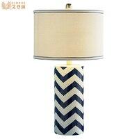Средиземное море сельских волна Дизайн Керамика ткань Led E27 Настольная лампа для Гостиная Спальня исследование H 66 см 1424