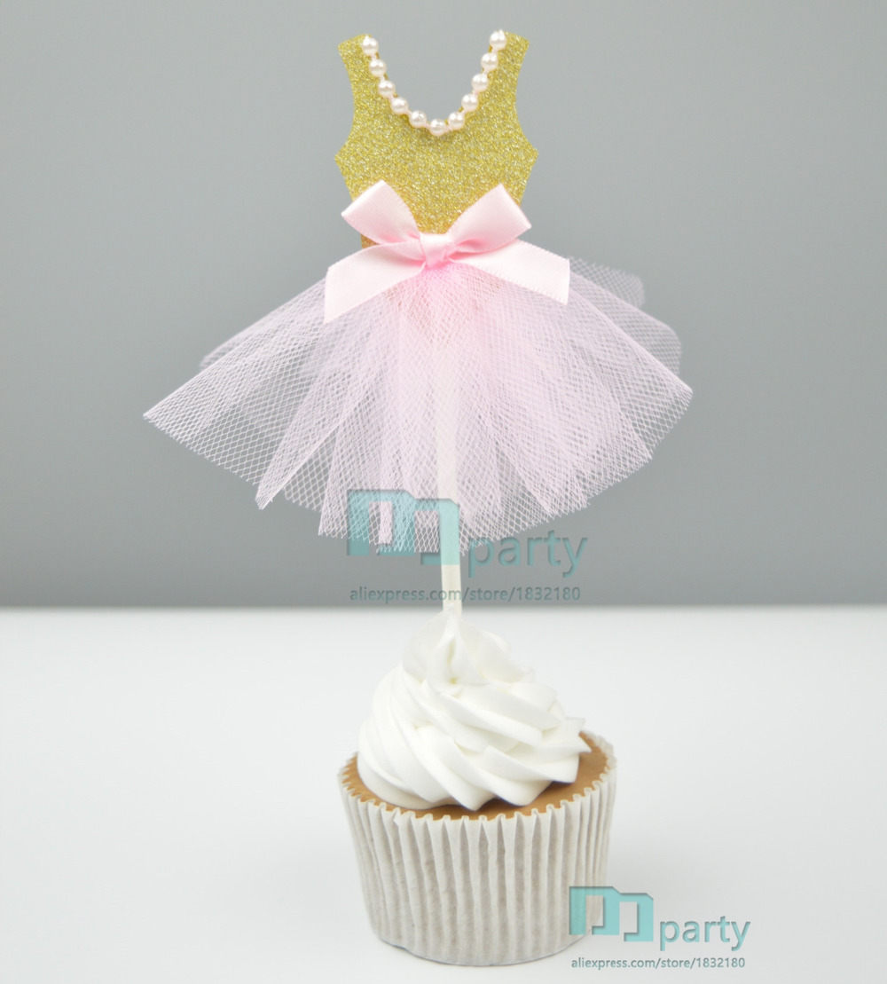Handmade Pink Princess Dress Wedding Girl Theme Party Supplies Cupcake Toppers Pick Kid Birthday Decorations In Cake Decorating