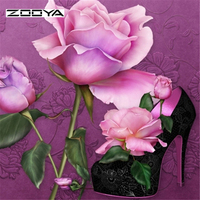 5D Diamond Painting Flowers Kit Cross Stitch Square Drill Diamond Embroidery Needlework Room Decoration Pink Rose