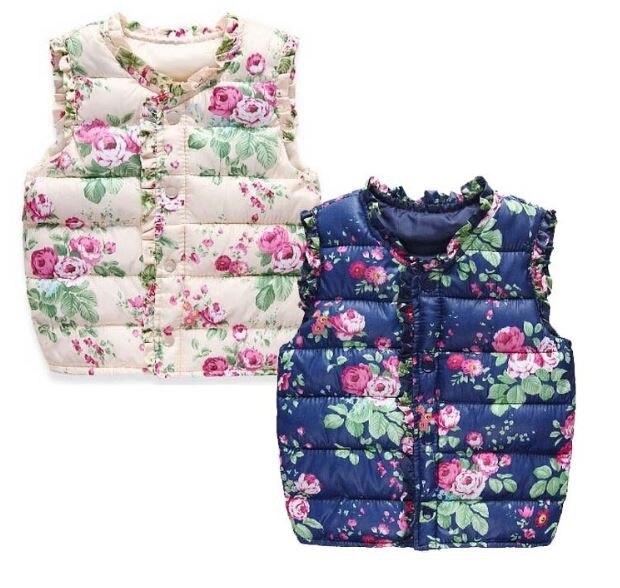 Primavera otoño algodón niños invierno Chaquetas niños Niñas chaleco floral  impreso algodón chaleco caliente Outwear la ropa 530bc1b9efd69