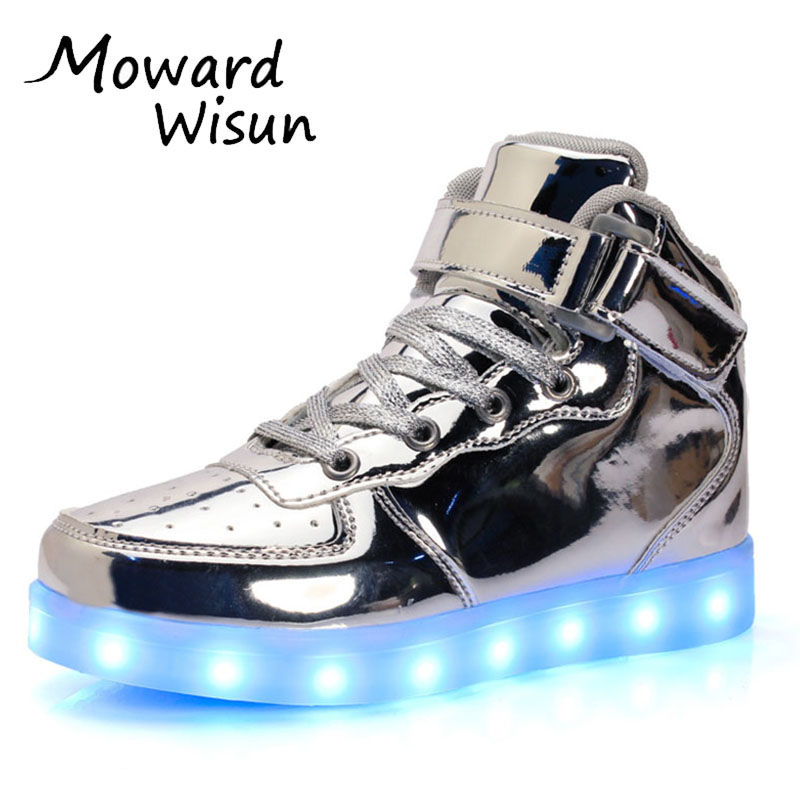 Good Fashion Good Children LED Glowing Luminous Sneakers With Light Up Shoes for Kids Boys Girls Baskets LED Slippers 30