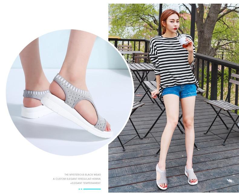 HTB1XD0AvnJYBeNjy1zeq6yhzVXam PINSEN Women Sandals 2019 New Female Shoes Woman Summer Wedge Comfortable Sandals Ladies Slip-on Flat Sandals Women Sandalias