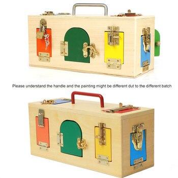 Montessori Toys 3 Years Lock Box Montessori Materials Sensorial Educational Wooden Toys For Children Montessori Baby Toys UE1066 1