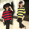 2017 Spring Baby Girl Fashion T-shirt Mixed Color Stripe Pattern Kid Pullover Clothes Hole-out Design Children Cotton Top Tees